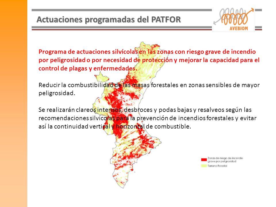 Actuaciones programadas del PATFOR Programa de actuaciones silvícolas en las zonas con riesgo grave de incendio por peligrosidad o por necesidad de pr