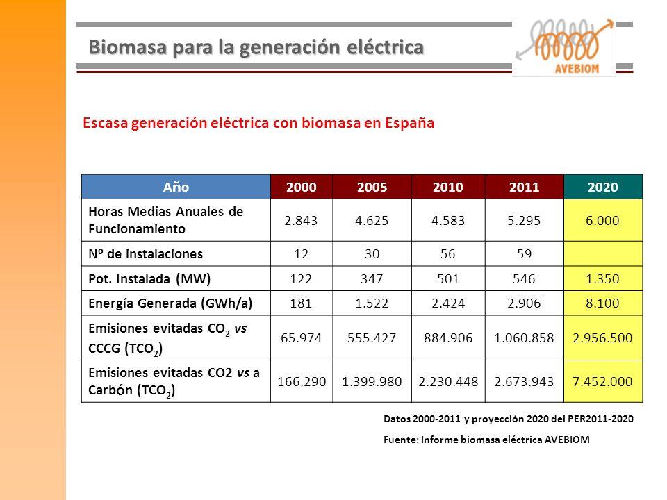 Biomasa para la generación eléctrica AñoAño20002005201020112020 Horas Medias Anuales de Funcionamiento 2.8434.6254.5835.2956.000 N º de instalaciones