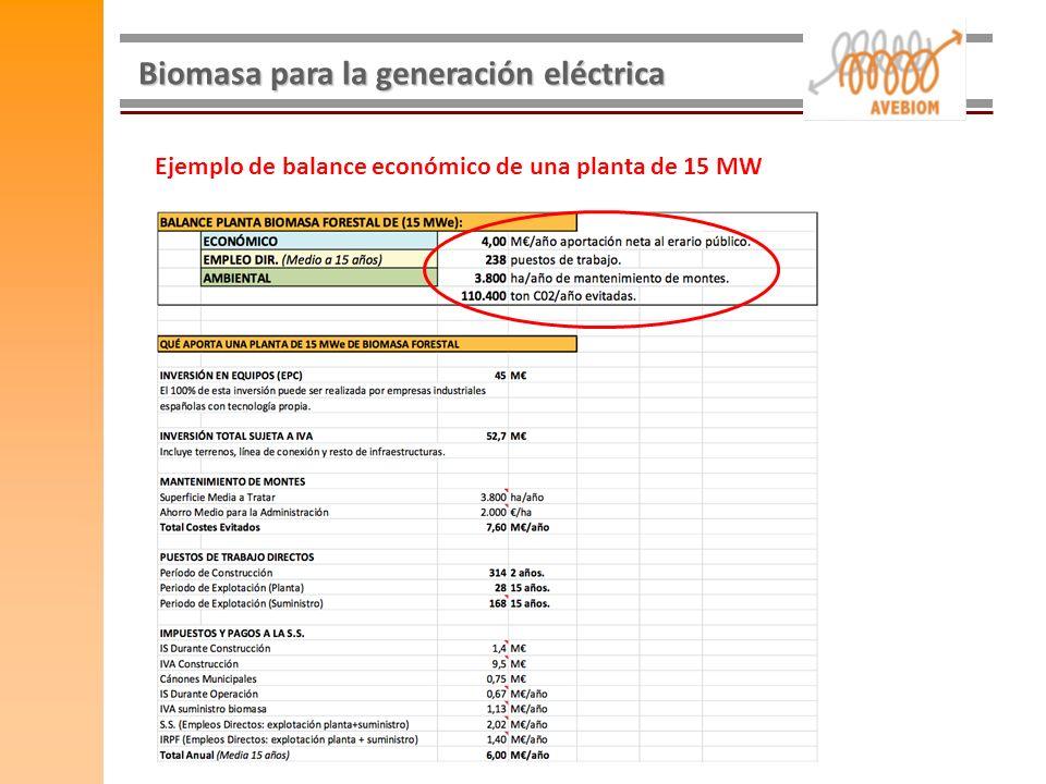 Biomasa para la generación eléctrica Ejemplo de balance económico de una planta de 15 MW