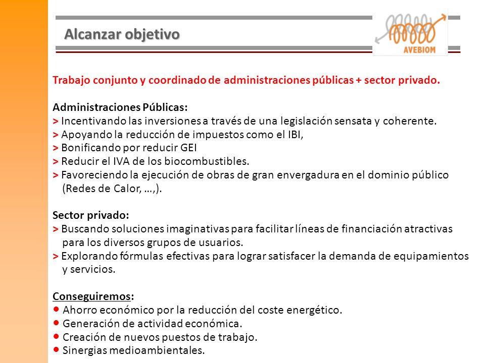 Alcanzar objetivo Trabajo conjunto y coordinado de administraciones públicas + sector privado. Administraciones Públicas: > Incentivando las inversion