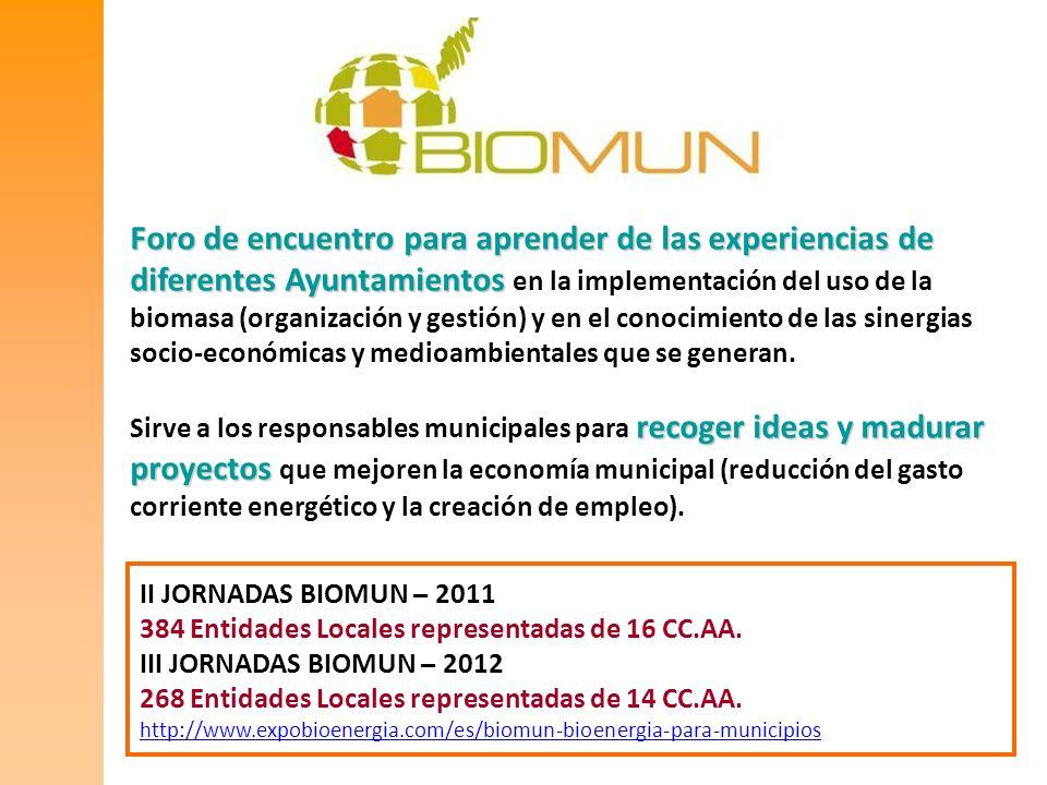 II JORNADAS BIOMUN – 2011 384 Entidades Locales representadas de 16 CC.AA. III JORNADAS BIOMUN – 2012 268 Entidades Locales representadas de 14 CC.AA.