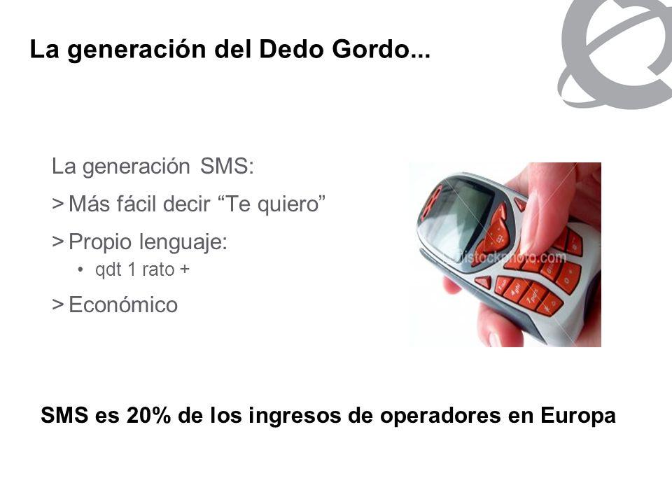 La generación del Dedo Gordo... La generación SMS: >Más fácil decir Te quiero >Propio lenguaje: qdt 1 rato + >Económico SMS es 20% de los ingresos de