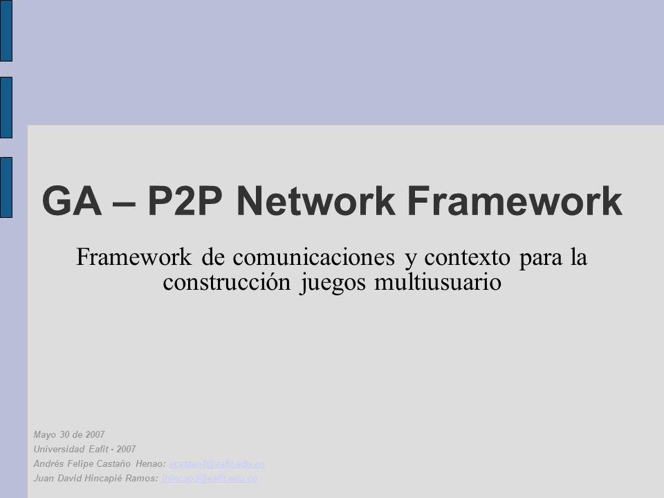 GA – P2P Network Framework Framework de comunicaciones y contexto para la construcción juegos multiusuario Mayo 30 de 2007 Universidad Eafit - 2007 Andrés Felipe Castaño Henao: acastan4@eafit.edu.coacastan4@eafit.edu.co Juan David Hincapié Ramos: jhincap3@eafit.edu.cojhincap3@eafit.edu.co