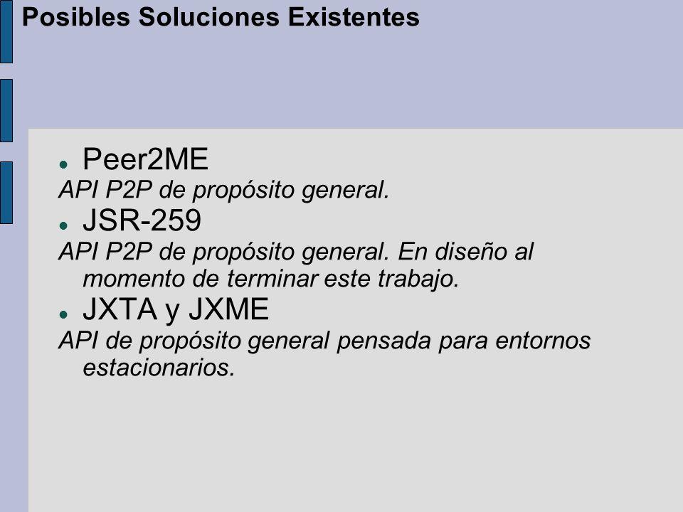 Peer2ME API P2P de propósito general. JSR-259 API P2P de propósito general.