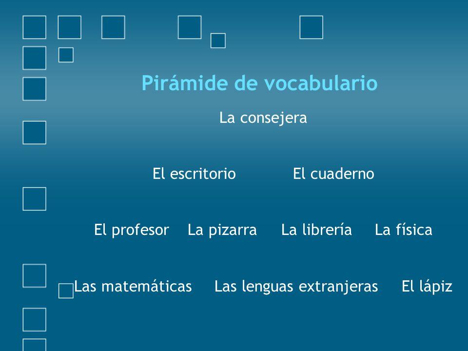Pirámide de vocabulario La consejera El escritorioEl cuaderno El profesorLa pizarraLa libreríaLa física Las matemáticasLas lenguas extranjerasEl lápiz