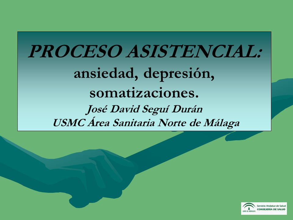 PROCESO ASISTENCIAL: ansiedad, depresión, somatizaciones. José David Seguí Durán USMC Área Sanitaria Norte de Málaga