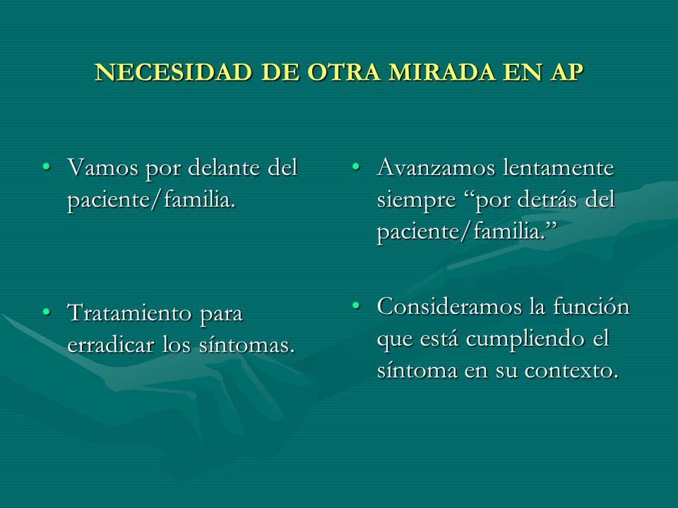 NECESIDAD DE OTRA MIRADA EN AP Vamos por delante del paciente/familia.Vamos por delante del paciente/familia. Tratamiento para erradicar los síntomas.