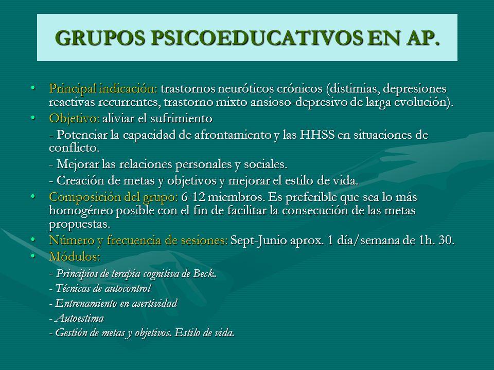 GRUPOS PSICOEDUCATIVOS EN AP. Principal indicación: trastornos neuróticos crónicos (distimias, depresiones reactivas recurrentes, trastorno mixto ansi
