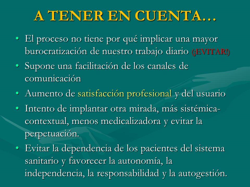 A TENER EN CUENTA… El proceso no tiene por qué implicar una mayor burocratización de nuestro trabajo diario (¡EVITAR!)El proceso no tiene por qué impl