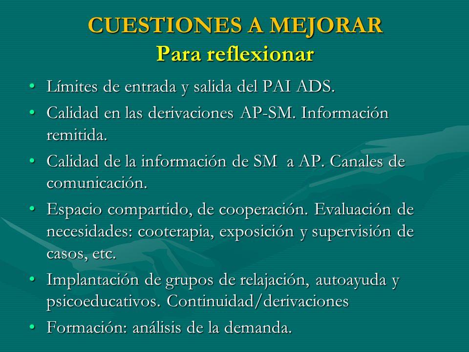 CUESTIONES A MEJORAR Para reflexionar Límites de entrada y salida del PAI ADS.Límites de entrada y salida del PAI ADS. Calidad en las derivaciones AP-
