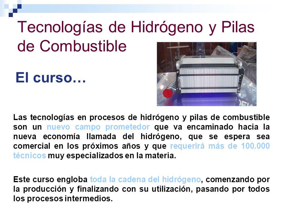 Tecnologías de Hidrógeno y Pilas de Combustible El curso… Las tecnologías en procesos de hidrógeno y pilas de combustible son un nuevo campo prometedo