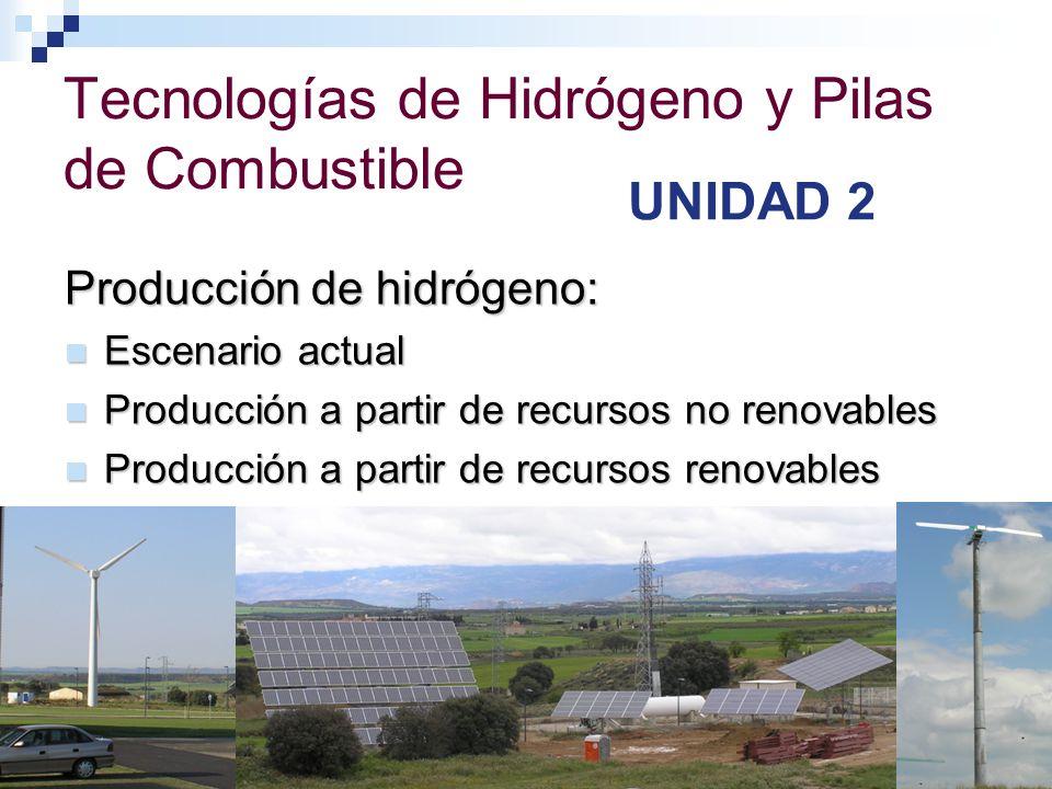 Tecnologías de Hidrógeno y Pilas de Combustible UNIDAD 2 Producción de hidrógeno: Escenario actual Escenario actual Producción a partir de recursos no