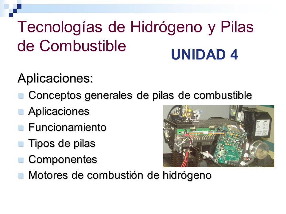 Tecnologías de Hidrógeno y Pilas de Combustible UNIDAD 4 Aplicaciones: Conceptos generales de pilas de combustible Conceptos generales de pilas de com