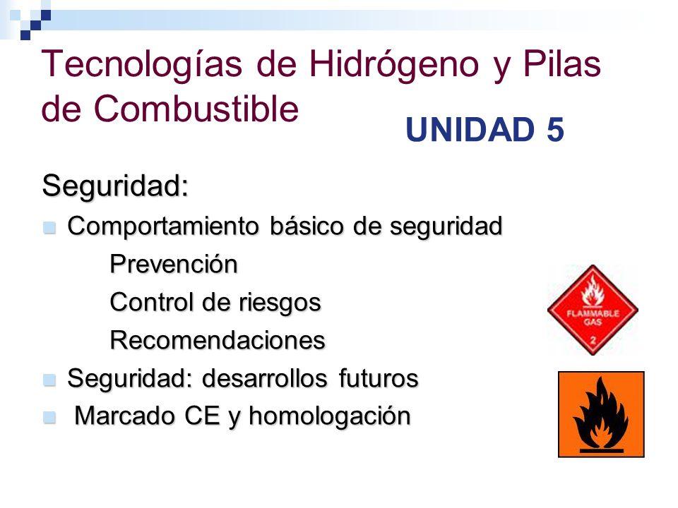 Tecnologías de Hidrógeno y Pilas de Combustible UNIDAD 5 Seguridad: Comportamiento básico de seguridad Comportamiento básico de seguridadPrevención Co