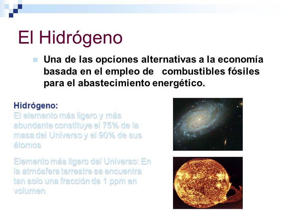 El Hidrógeno Una de las opciones alternativas a la economía basada en el empleo de combustibles fósiles para el abastecimiento energético. Hidrógeno: