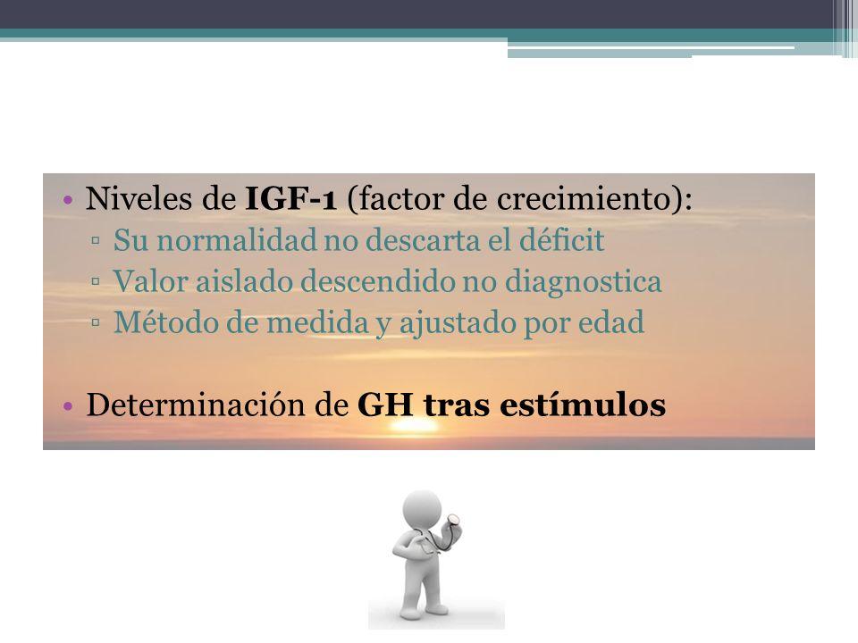Niveles de IGF-1 (factor de crecimiento): Su normalidad no descarta el déficit Valor aislado descendido no diagnostica Método de medida y ajustado por