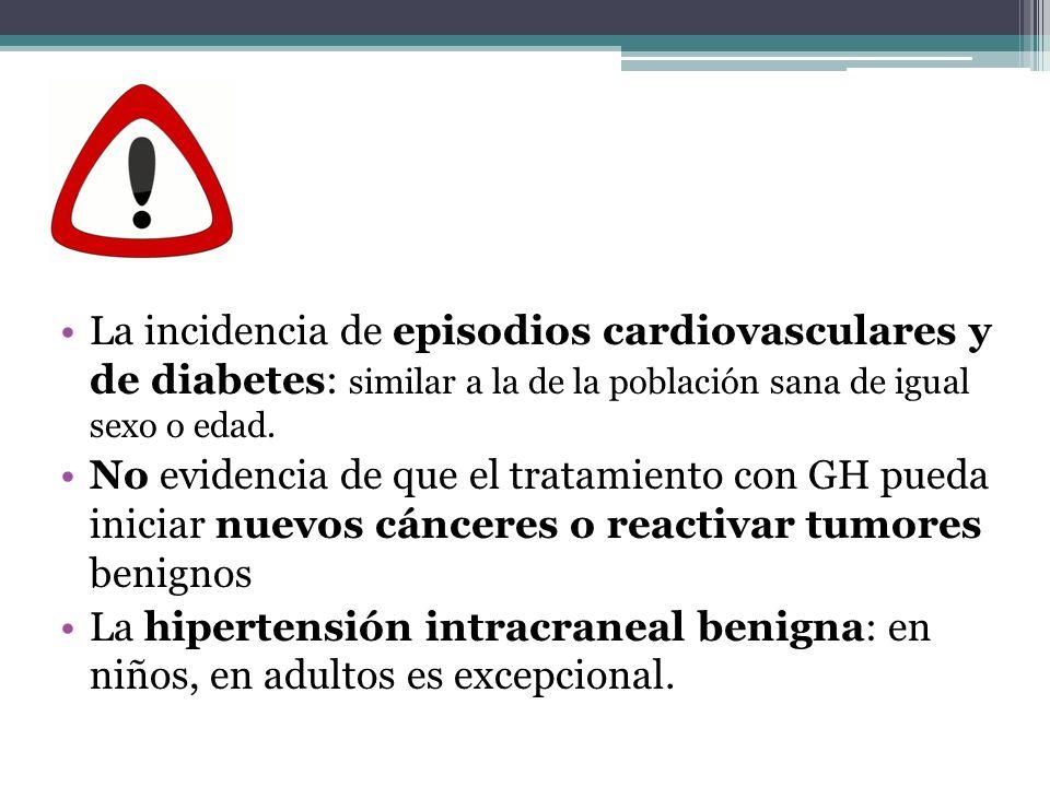 La incidencia de episodios cardiovasculares y de diabetes: similar a la de la población sana de igual sexo o edad. No evidencia de que el tratamiento