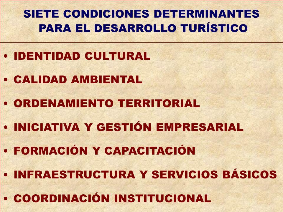 de SIETE CONDICIONES DETERMINANTES PARA EL DESARROLLO TURÍSTICO IDENTIDAD CULTURAL CALIDAD AMBIENTAL ORDENAMIENTO TERRITORIAL INICIATIVA Y GESTIÓN EMP