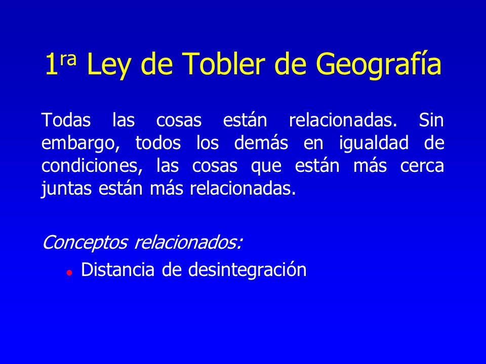1 ra Ley de Tobler de Geografía Todas las cosas están relacionadas. Sin embargo, todos los demás en igualdad de condiciones, las cosas que están más c