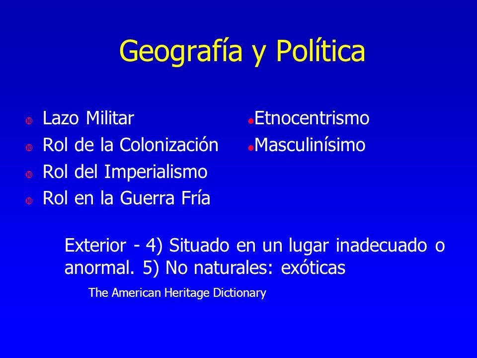 Geografía y Política Lazo Militar Rol de la Colonización Rol del Imperialismo Rol en la Guerra Fría l Etnocentrismo l Masculinísimo Exterior - 4) Situ