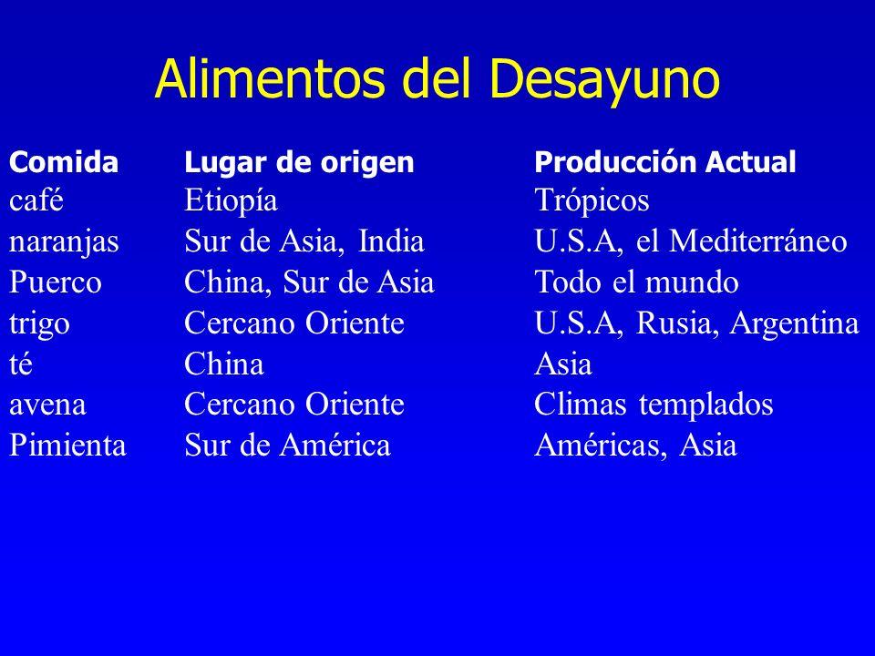 Alimentos del Desayuno ComidaLugar de origenProducción Actual caféEtiopíaTrópicos naranjasSur de Asia, India U.S.A, el Mediterráneo PuercoChina, Sur d