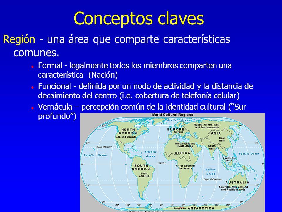 Conceptos claves Región - una área que comparte características comunes. l Formal - legalmente todos los miembros comparten una característica (Nación