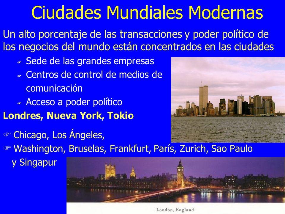 Ciudades Mundiales Modernas Un alto porcentaje de las transacciones y poder político de los negocios del mundo están concentrados en las ciudades F Se
