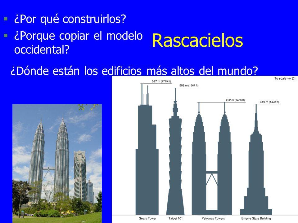Rascacielos §¿Por qué construirlos? §¿Porque copiar el modelo occidental? ¿Dónde están los edificios más altos del mundo?
