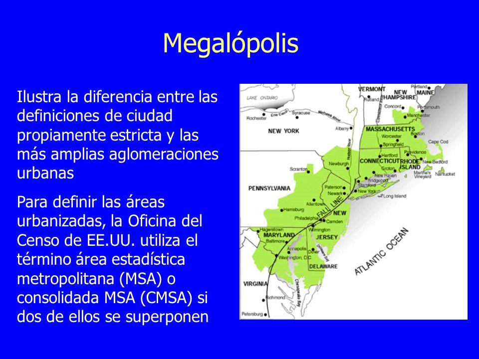 Megalópolis Ilustra la diferencia entre las definiciones de ciudad propiamente estricta y las más amplias aglomeraciones urbanas Para definir las área