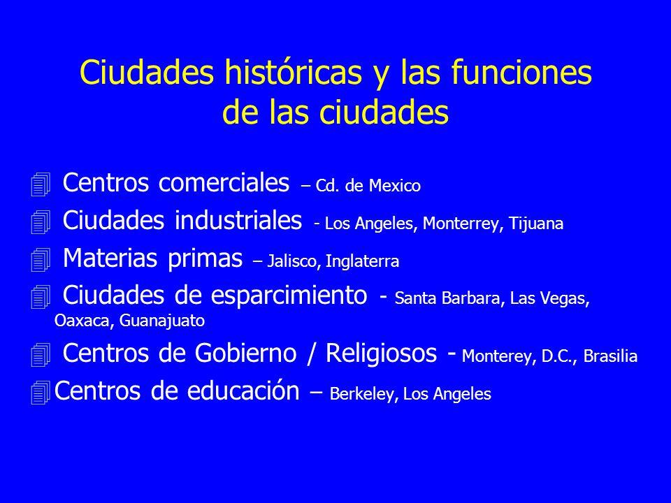 Ciudades históricas y las funciones de las ciudades 4 Centros comerciales – Cd. de Mexico 4 Ciudades industriales - Los Angeles, Monterrey, Tijuana 4