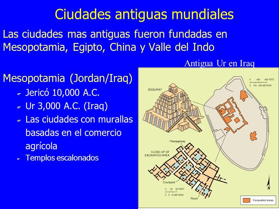 Ciudades antiguas mundiales Las ciudades mas antiguas fueron fundadas en Mesopotamia, Egipto, China y Valle del Indo Mesopotamia (Jordan/Iraq) F Jeric