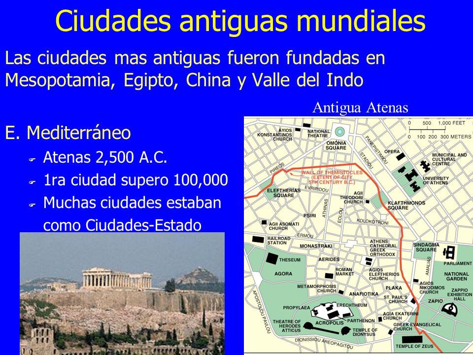 Ciudades antiguas mundiales Las ciudades mas antiguas fueron fundadas en Mesopotamia, Egipto, China y Valle del Indo E. Mediterráneo F Atenas 2,500 A.