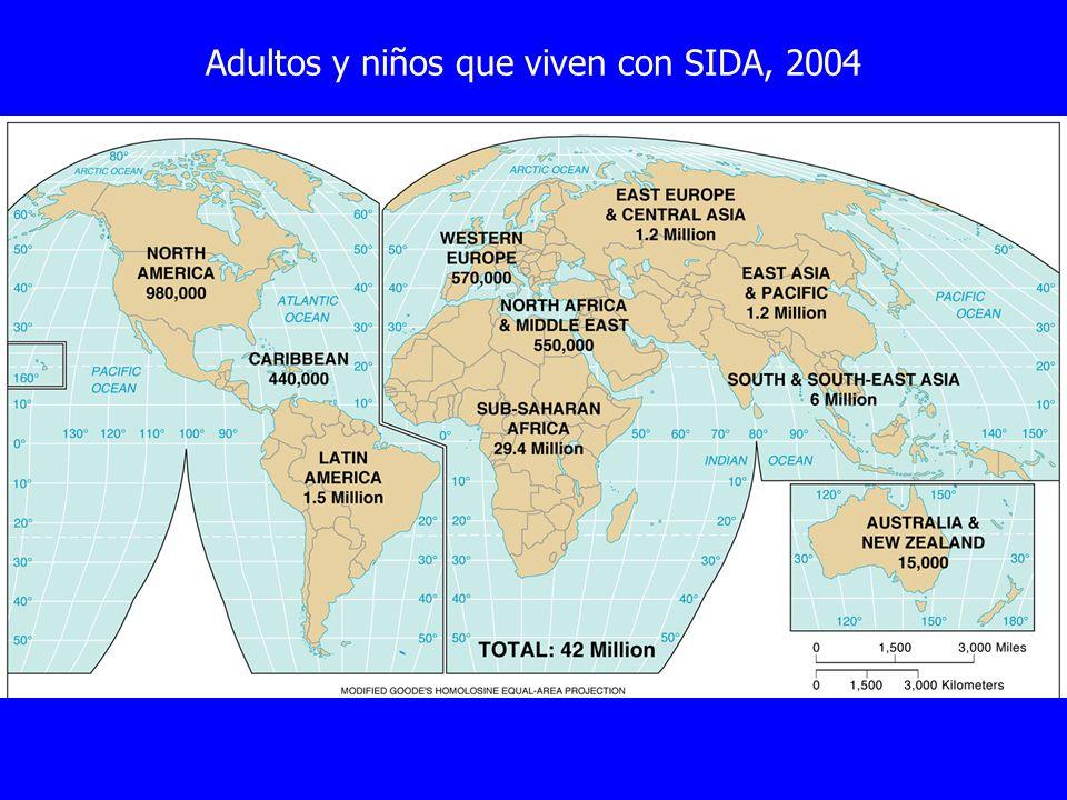 Adultos y niños que viven con SIDA, 2004