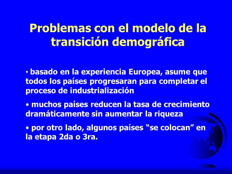 Problemas con el modelo de la transición demográfica basado en la experiencia Europea, asume que todos los países progresaran para completar el proces