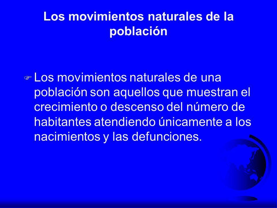 Los movimientos naturales de la población F Los movimientos naturales de una población son aquellos que muestran el crecimiento o descenso del número