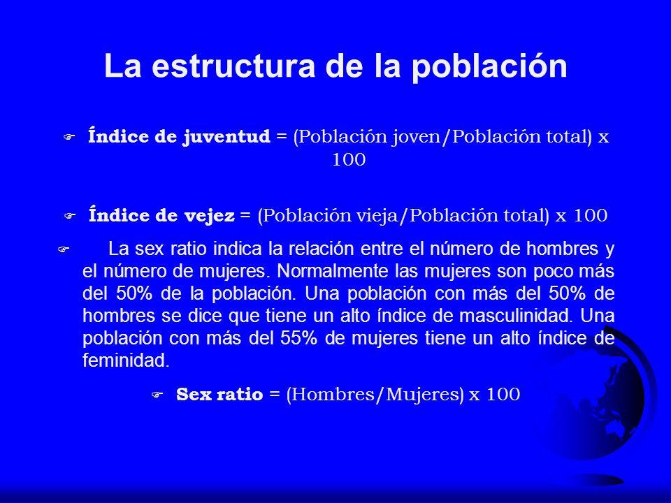 La estructura de la población F Índice de juventud = (Población joven/Población total) x 100 F Índice de vejez = (Población vieja/Población total) x 1
