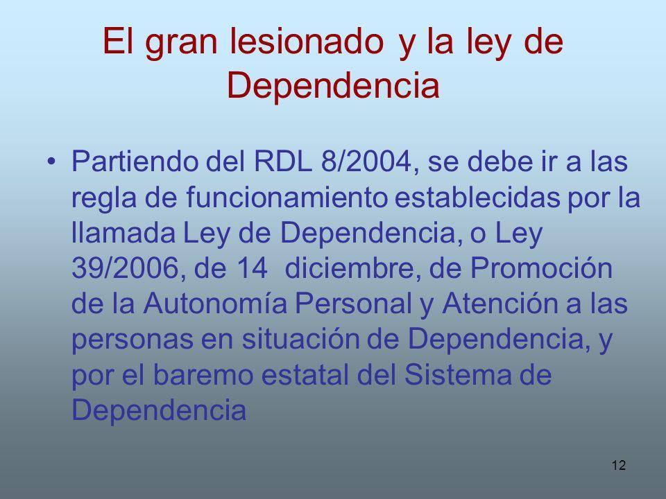 12 El gran lesionado y la ley de Dependencia Partiendo del RDL 8/2004, se debe ir a las regla de funcionamiento establecidas por la llamada Ley de Dep