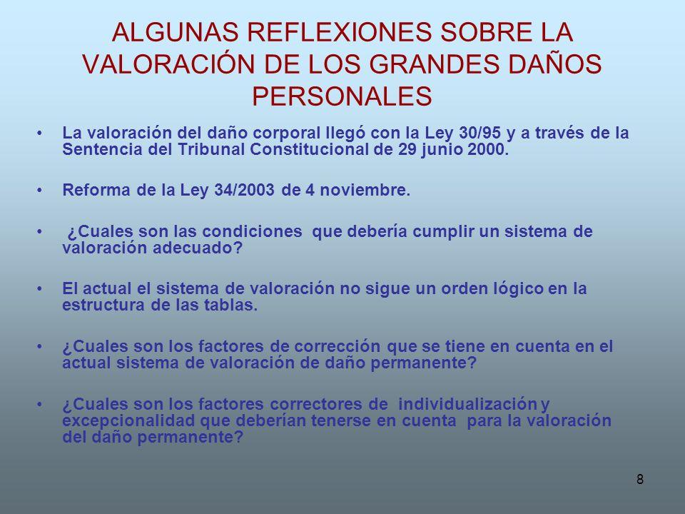 8 ALGUNAS REFLEXIONES SOBRE LA VALORACIÓN DE LOS GRANDES DAÑOS PERSONALES La valoración del daño corporal llegó con la Ley 30/95 y a través de la Sent