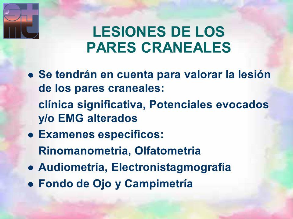 LESIONES DE LOS PARES CRANEALES Se tendrán en cuenta para valorar la lesión de los pares craneales: clínica significativa, Potenciales evocados y/o EM