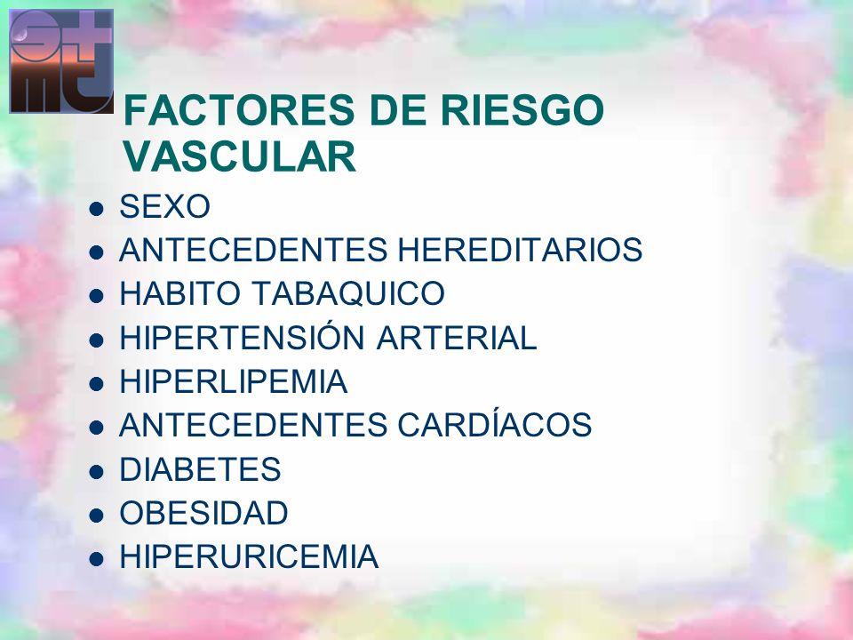 FACTORES DE RIESGO VASCULAR SEXO ANTECEDENTES HEREDITARIOS HABITO TABAQUICO HIPERTENSIÓN ARTERIAL HIPERLIPEMIA ANTECEDENTES CARDÍACOS DIABETES OBESIDA