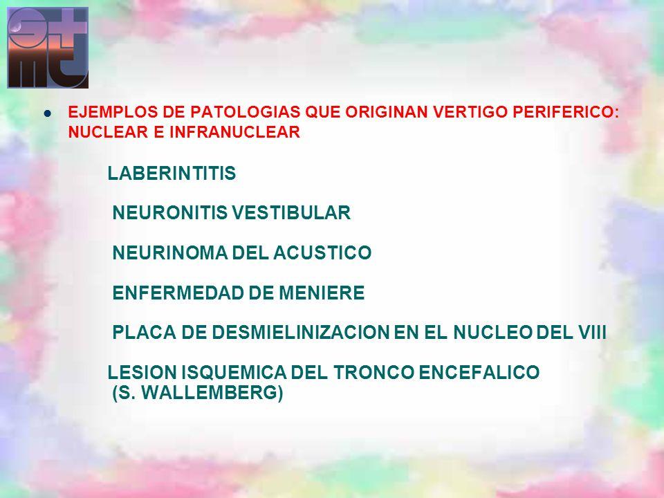 LABERINTITIS NEURONITIS VESTIBULAR NEURINOMA DEL ACUSTICO ENFERMEDAD DE MENIERE PLACA DE DESMIELINIZACION EN EL NUCLEO DEL VIII LESION ISQUEMICA DEL T