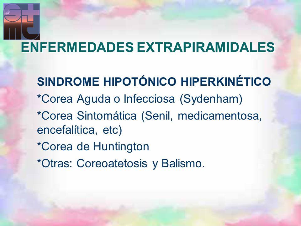 SINDROME HIPOTÓNICO HIPERKINÉTICO *Corea Aguda o Infecciosa (Sydenham) *Corea Sintomática (Senil, medicamentosa, encefalítica, etc) *Corea de Huntingt
