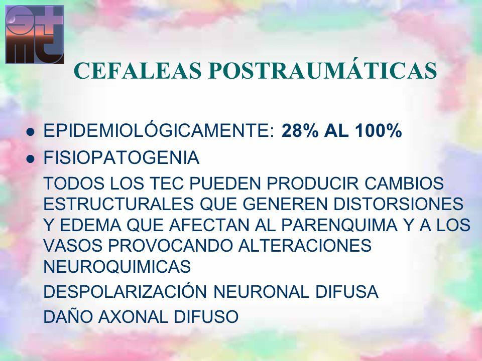 CEFALEAS POSTRAUMÁTICAS EPIDEMIOLÓGICAMENTE: 28% AL 100% FISIOPATOGENIA TODOS LOS TEC PUEDEN PRODUCIR CAMBIOS ESTRUCTURALES QUE GENEREN DISTORSIONES Y