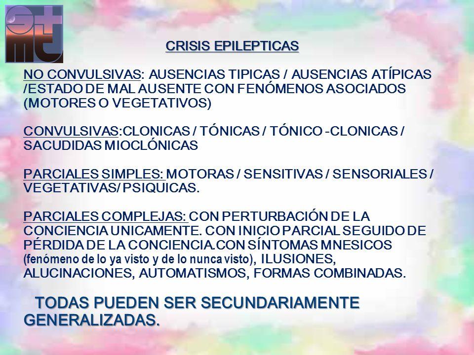 CRISIS EPILEPTICAS TODAS PUEDEN SER SECUNDARIAMENTE GENERALIZADAS. CRISIS EPILEPTICAS NO CONVULSIVAS: AUSENCIAS TIPICAS / AUSENCIAS ATÍPICAS /ESTADO D
