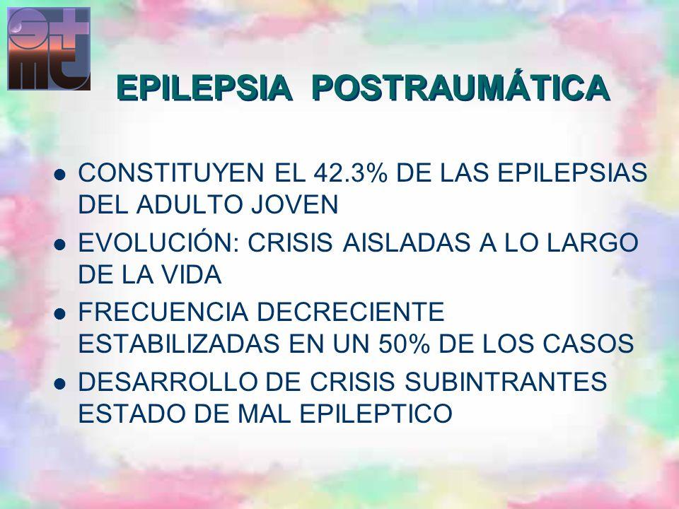 CONSTITUYEN EL 42.3% DE LAS EPILEPSIAS DEL ADULTO JOVEN EVOLUCIÓN: CRISIS AISLADAS A LO LARGO DE LA VIDA FRECUENCIA DECRECIENTE ESTABILIZADAS EN UN 50