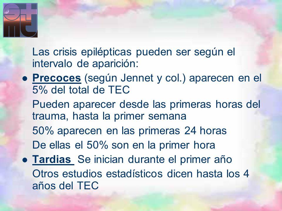 Las crisis epilépticas pueden ser según el intervalo de aparición: Precoces (según Jennet y col.) aparecen en el 5% del total de TEC Pueden aparecer d