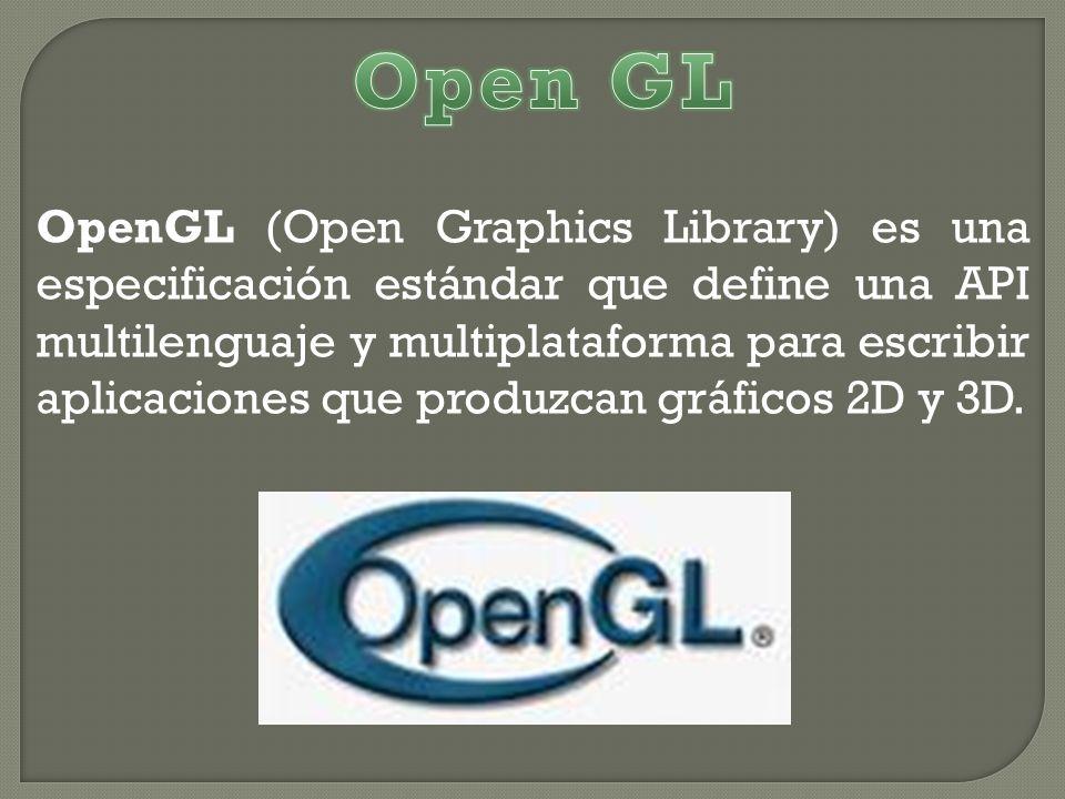 OpenGL (Open Graphics Library) es una especificación estándar que define una API multilenguaje y multiplataforma para escribir aplicaciones que produzcan gráficos 2D y 3D.