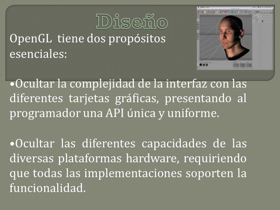 OpenGL tiene dos prop ó sitos esenciales: Ocultar la complejidad de la interfaz con las diferentes tarjetas gr á ficas, presentando al programador una API ú nica y uniforme.