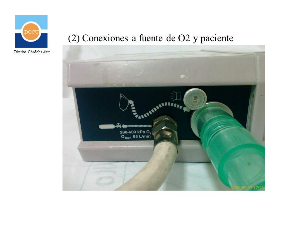 DCCU Distrito Córdoba-Sur INSTRUCCIONES BÁSICAS (RECOMENDACIONES) Conexión Al conectar el ventilador a la fuente de Oxígeno (3 y 4), éste comenzará a funcionar (ciclar) automáticamente bajo los parámetros que en ese momento estén programados.