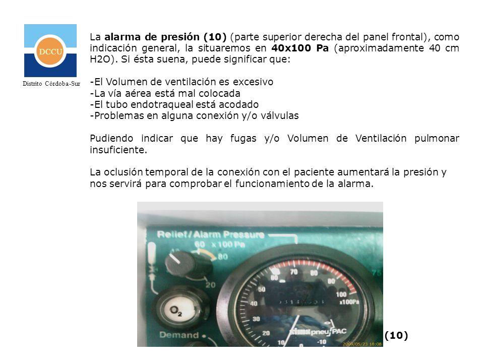 DCCU Distrito Córdoba-Sur La alarma de presión (10) (parte superior derecha del panel frontal), como indicación general, la situaremos en 40x100 Pa (a
